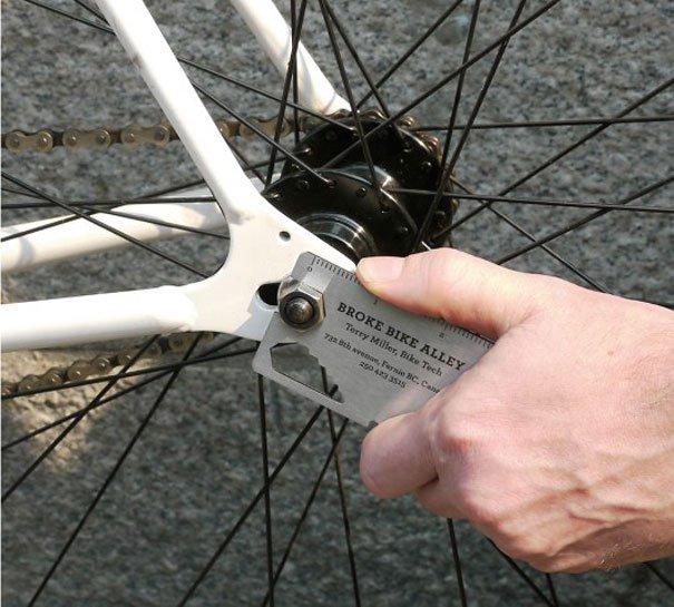 Handig visitekaartje van de fietsenmaker