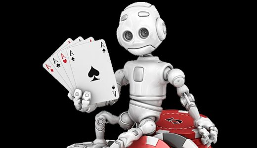 Robot and aces cards