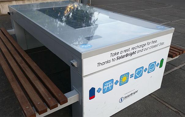 Zonnepaneel tafels zodat studenten hun apparaten kunnen opladen