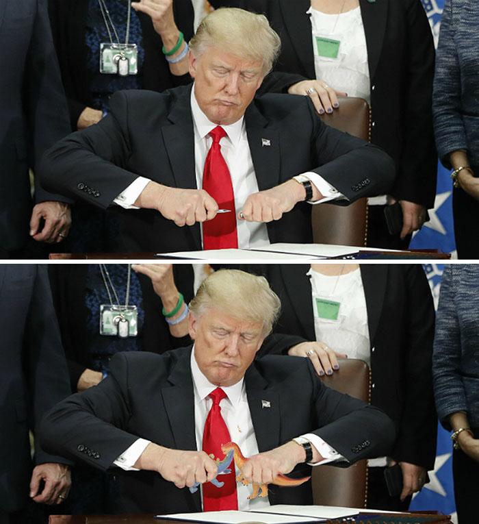 Donald Trump die de dop op z'n pen doet - by janlaureys9