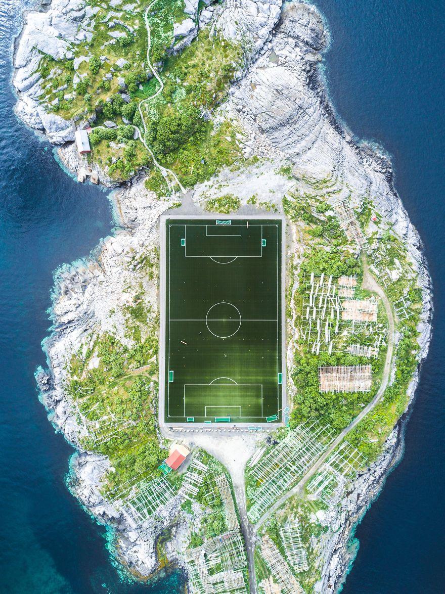 Henningsvær Football Field, Henningsvær, Nordland, Norway.