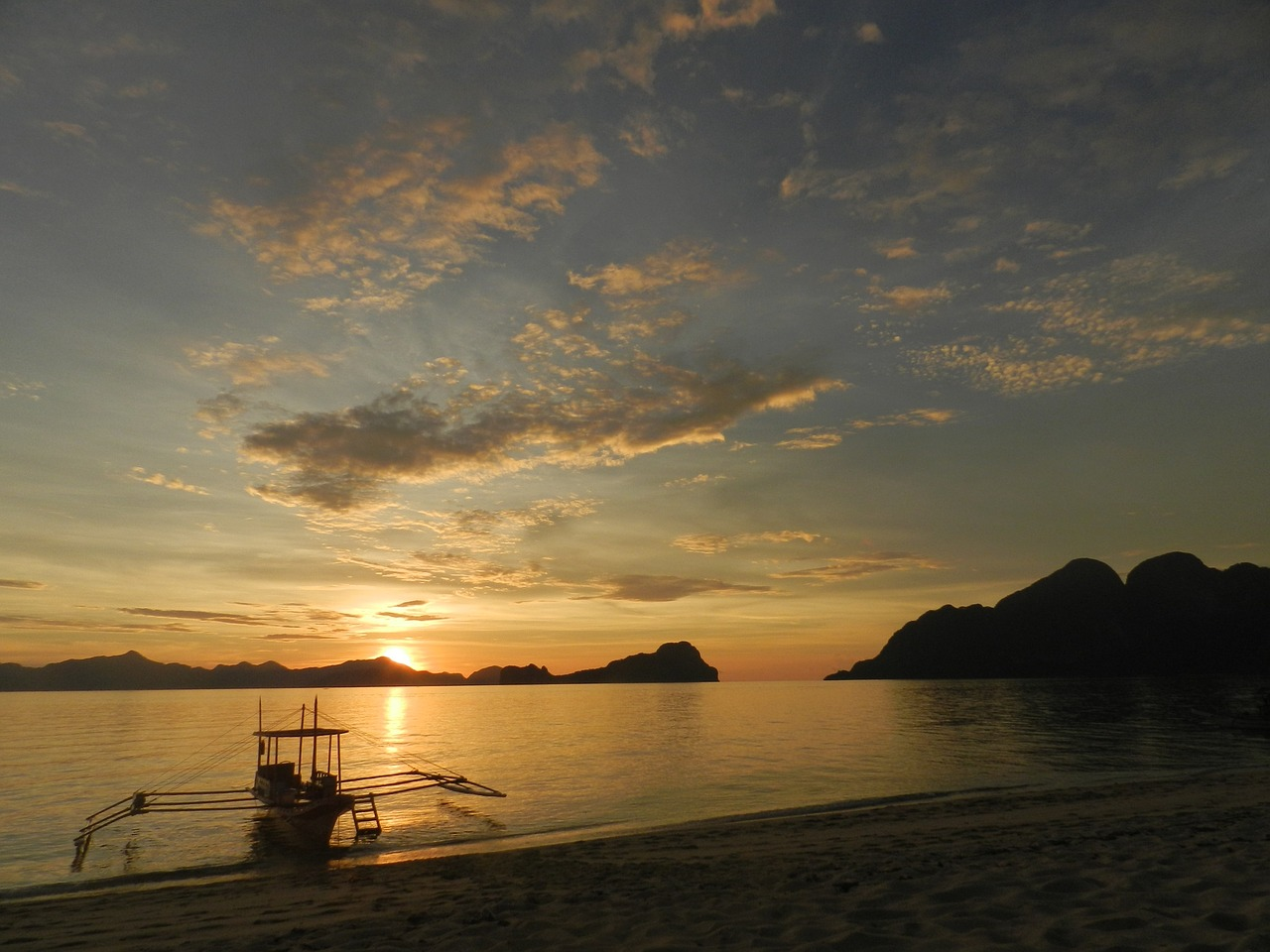 Beach Sunrise Island Sea Boat Philippines Sunset