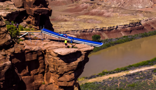 Waterslide cliff
