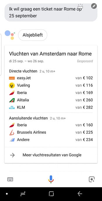Google Assistent ticket bestellen