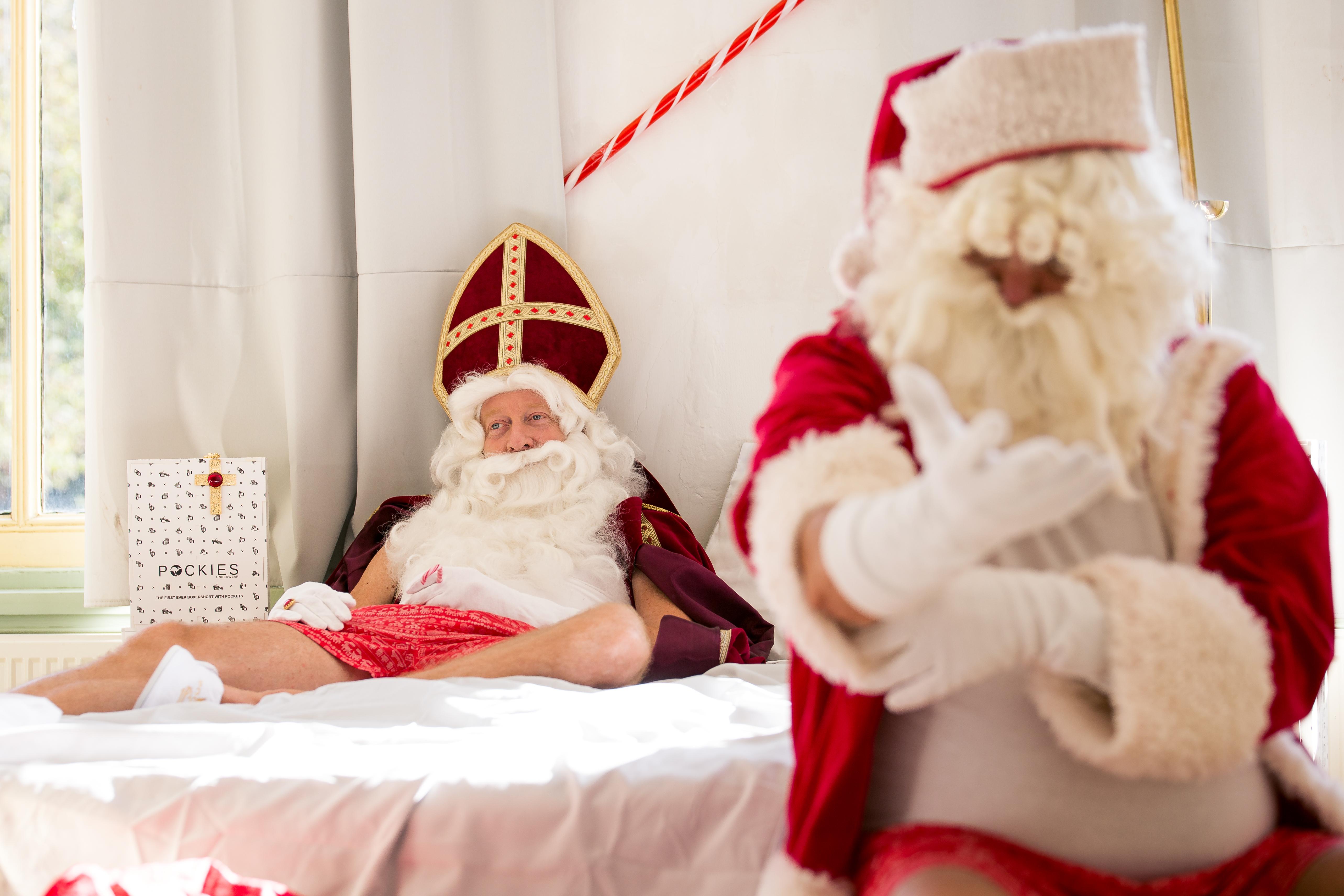 Sinterklaas boxershorts onderbroeken Kerstman Pockies