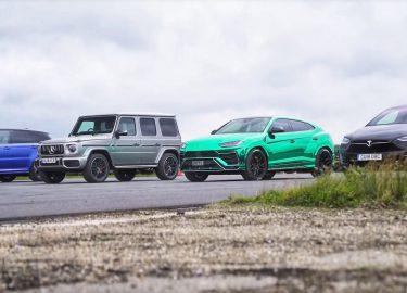 dragrace lamborghini mercedes Tesla Range Rover Sport SVR